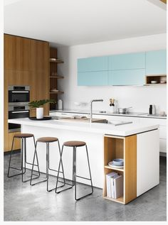 pale blue upper cabinets