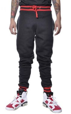Image of Fleece Jogger Pants Black/Red