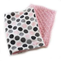 Pink Gray Dots Burp Cloths,  set of 2 Minky // Ready to ship / Minky Burp Cloth / Baby Shower Gift / Gray Pink Burp Cloth by Sewingdreamsnotions on Etsy