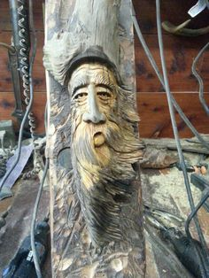 Wood spirit by William. Carved into a pine knot