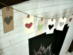 Simple heart bunting made from scrap fabric via Mama G's