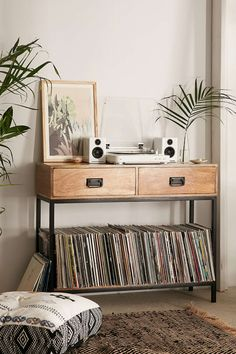 LPs Storage at Casper Industrial Wooden Console | Urban Outfitters