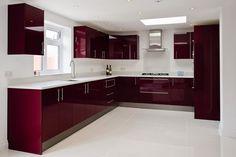 Cimstone Arcadia worktops on high gloss burgundy units Kitchen Ceiling Design, Kitchen Room Design, Modern Kitchen Design, Interior Design Kitchen, Modern Interior, Interior Decorating, Kitchen Cupboard Designs, Kitchen Cabinet Styles, Modern Kitchen Cabinets