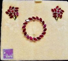 Vintage B DAVID Signed Ruby Red Garnet Crystal by VintagePolice4U