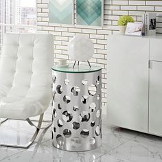 Etch Stainless Steel Side Table in Silver