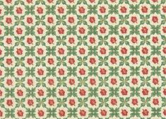 1930's Vintage Wallpaper - Red and Green Leafy Geometric Pattern