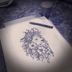 Finishing this up for Victoria for tomorrow. #lion #liontattoo #liontattoodesign #flower #flowertattoo #aceshightattooshop #aceshightattoos