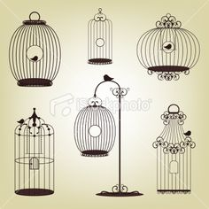 set of vintage bird cages Royalty Free Stock Vector Art Illustration
