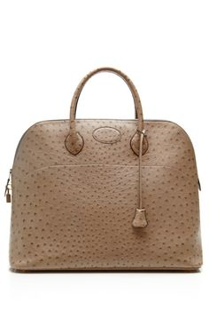 Shop Hermes Gris Clair Ostrich Travel Bolide Bag by Heritage Auctions Special Collections - Moda Operandi