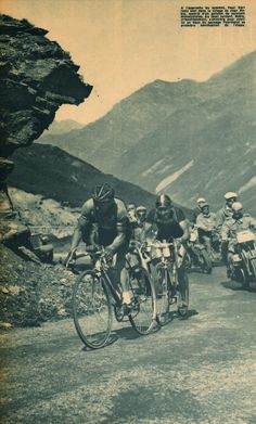Tour de France 1948. 8^Tappa, 8 luglio. Lourdes > Toulouse. Col du Tourmalet. Jean Robic (1921-1980) e Paul Neri (1917-1979) all'attacco [Miroir Sprint] (www.cyclingpassions.eu)