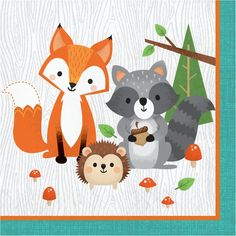 Bring in a joyful twist to your celebrations with these woodland-themed napkins. These napkins displaying woodland animals in a forest set against a colorful t Party Animals, Animal Party, Baby Shower Napkins, Party Napkins, Party Plates, Dessert Plates, Dinner Napkins, Dinner Plates, Woodland Theme