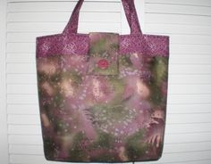 Women Tote Bag  Green Lilac Fabric Bag  Lightweight by Love2quilt