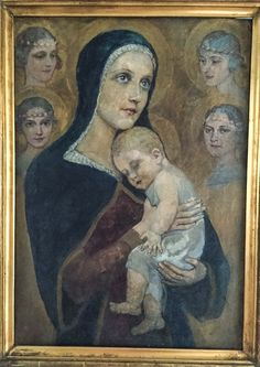 """Unknown artist (Budapest), """"Virgin Mary and the Child"""", Oil on cardboard"""