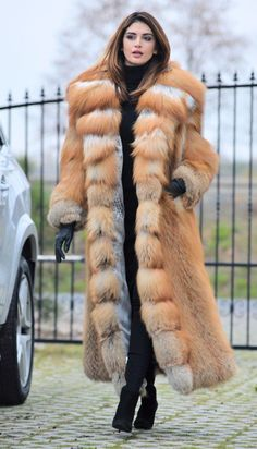 NEW 2017 GOLD FOX LONG FUR COAT HOOD CLAS CHINCHILLA SABLE MINK LYNX SILVER FIRE | eBay