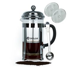 Divlor French Press Coffee Maker Stainless Steel 34 Ounce 8 Cups Heat Resistant Borosilicate Glass Perfect For Tea Clip Spoon and 2 Bonus Filter Included ** Find out more about the great product at the image link.  This link participates in Amazon Service LLC Associates Program, a program designed to let participant earn advertising fees by advertising and linking to Amazon.com.