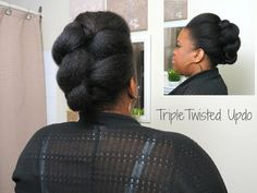 Triple Twisted Updo | Natural Hair - YouTube