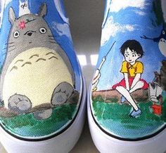 totoro painted canvas shoes totoro anme shoes