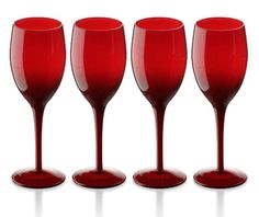 I have these in blue. Would love them in RED! Colored Wine Glasses, Colored Glass, Candy Apple Red, Red Candy, Red Champagne, Champagne Glasses, I See Red, Personalized Wine Glasses, Shades Of Red