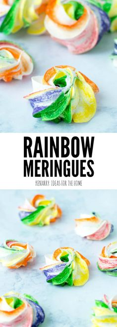 Make these simple Rainbow Meringues as a treat for your St. Patrick's Day party. This easy recipe creates a fun and fancy dessert that works for Mardi Gras and a birthday party too.