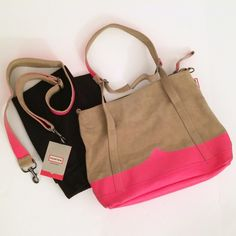 Hunter Suede Leather Neon Pink Handbag Tote Gorgeous and rare bag by Hunter. Super thick and heavy tan suede leather with neon pink accents. Comes with dustbag, care card and shoulder strap. Top zipper, can fold over or be used as a tote. Incredibly well made bag. This is preowned so please note there are some dark marks and some wear around the edges as well. Check the photos and let me know if you want more! Hunter Boots Bags Shoulder Bags
