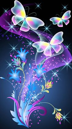 Wallpaper wallpaper by - bc - Free on ZEDGE™ Bling Wallpaper, Fairy Wallpaper, Flower Phone Wallpaper, Butterfly Wallpaper, Butterfly Art, Love Wallpaper, Colorful Wallpaper, Cellphone Wallpaper, Wallpaper Backgrounds