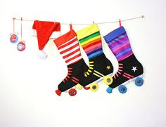 Roller Skates Christmas Stocking Funky by creationzbycatherine