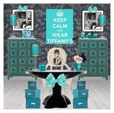"""Breakfast at Tiffany's Office"" by alexandra-juliana ❤ liked on Polyvore featuring interior, interiors, interior design, home, home decor, interior decorating, Amanti Art, Tiffany & Co., Lampables and Gingko Electronics"