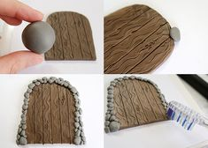 attach them in place. I hope you enjoyed this Polymer Clay Fairy Door Tutorial! Diy Fairy Door, Fairy Garden Doors, Fairy Garden Houses, Fairy Doors, Diy Door, Polymer Clay Fairy, Polymer Clay Projects, Diy Clay, Clay Fairy House