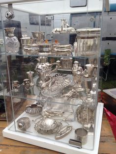 One of the hundreds of antique silver stalls at Newark antique fair.