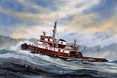 Tugs Painting - Tugboat Earnest by James Williamson Sailboat Art, Nautical Art, Ocean Sailing, Sailing Ships, Barge Boat, Adventure Of The Seas, Boat Painting, Tug Boats, Navy Ships
