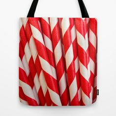 Red Striped Straws Tote Bag by Edward M. Fielding - $22.00