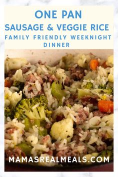 a 30 minute one pan sausage dinner made with vegetables and rice! It comes together making only 1 pan dirty plus it takes minimal time and effort to make making it the perfect meal for a busy mom. Roast Recipes, Pork Chop Recipes, Chicken Recipes, Dinner Recipes, Ham Recipes, Fudge Recipes, Crockpot Recipes, Lasagna Recipes, Icing Recipes