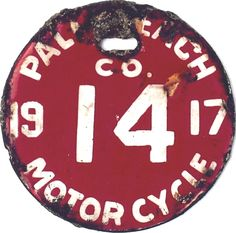 1917 Palm Beach, Florida Motor Cycle License Plate Number Porcelain over Steel. Number 14, Lucky Number, Countdown To Extinction, Palm Beach Fl, Enamel, Porcelain, Florida, Letters, Motorcycle