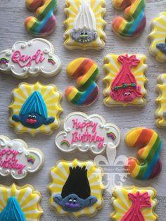 Trolls Trolls Trolls Sugar Cookies TheIcedSugarCookie.com Cookie Deaux Creations