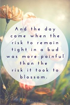 And the day came when the risk to remain tight in a bud was more painful than the risk it took to blossom. Inspirational quotes and motivational sayings.