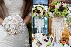 Bride made this stunning brooch bouquet herself!  Corey Cagle Photography / Wedding Photographer / Portrait Photographer: January 2014  #StudioFloraDiva #DIY #Floralchandelier