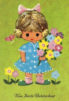 Vintage  Postcard with cute girl 70s
