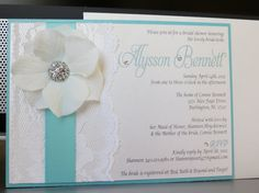 TIFFANY Themed Wedding Shower Invitation - Tiffany Blue or Mint and White Wedding via Etsy