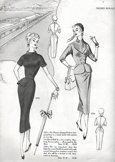 Sophisticatedly lovely daywear looks. Dress Making Patterns, Vintage Dress Patterns, Vintage Dresses, Vintage Fashion 1950s, Retro Fashion, Vintage Ladies, Vintage Hats, Victorian Fashion, Vintage Style