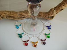 Heart Wine Glass Charms Marker Indicator Gift Favor Decor, Crystal Heart Party Favor, Heart Wine Lovers Present Gift by SeashellBeachDesigns on Etsy