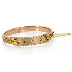 Antique Victorian Bangle Bracelet Sapphire Diamond 9 Karat Rose Gold Vintage Jewelry