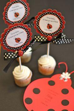 Ladybug Birthday Party Cupcake Toppers, Ladybug Birthday Party Toppers. $10.00, via Etsy.