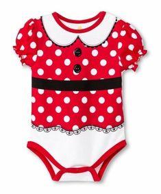 66cba3208a0c8 Minnie Mouse Disney Baby Polka Dot Bodysuit One Piece Cotton Baby Girls 0-3  #