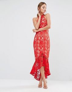 Jarlo | Jarlo Lace High Neck Midi Dress