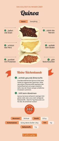 Quinoa - so healthy is the Inca ice - Gesundheit - Nutrition Nutrition Tips, Healthy Nutrition, Healthy Life, Healthy Eating, Healthy Recipes, Nutrition Tracker, Nutrition Quotes, Food Facts, Eat Smarter