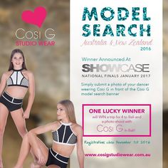 Announcing the Cozzie G model search. Enter via our regionals with a photo in front of the Official pull up banner wearing Cosi G.  First prize is a fabulous family trip for 4 to Bali and a photo shoot in tropical Bali for Cosi G  @cosigstudiowear  Check out the exclusive range at Showcase #showcasedance #ilypeteroxford #dance #dancer #cosigdancewear by showcasedance