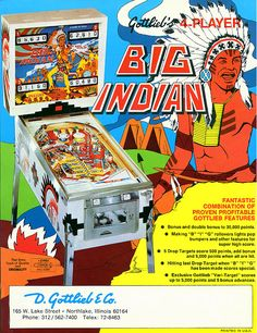 Big Indian Flyer - Prior to production, this game was named 'Chief' and then renamed to 'Big Injun'. Sample games were produced as 'Big Injun' and, according to the Encyclopedia of Pinball Vol 1, the Native American employees in Gottlieb's wiring and assembly plant in South Dakota complained about this. So, the name was changed again, to 'Big Indian'.