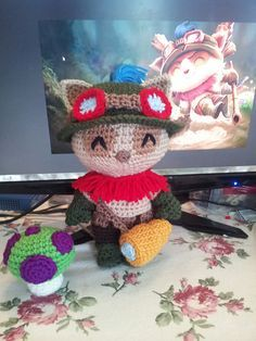 """Teemo from League of Legends (10.5""""tall) - Free Amigurumi Crochet Pattern here: http://agamerofsorts.com/portfolio/league-of-legends-teemo-pattern/"""