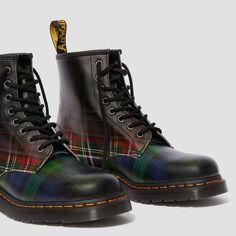 Dr Martens 1460, Dr. Martens, Punk, Moto Boots, Combat Boots, Tartan, Leather Lace Up Boots, Plaid Fashion, Goodyear Welt