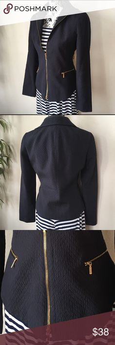 Navy quilted zippered jacket / blazer Navy blue quilted gold zippered jacket / blazer. Figure flattering cut. Gently loved, excellent condition. Liz Claiborne Jackets & Coats Blazers
